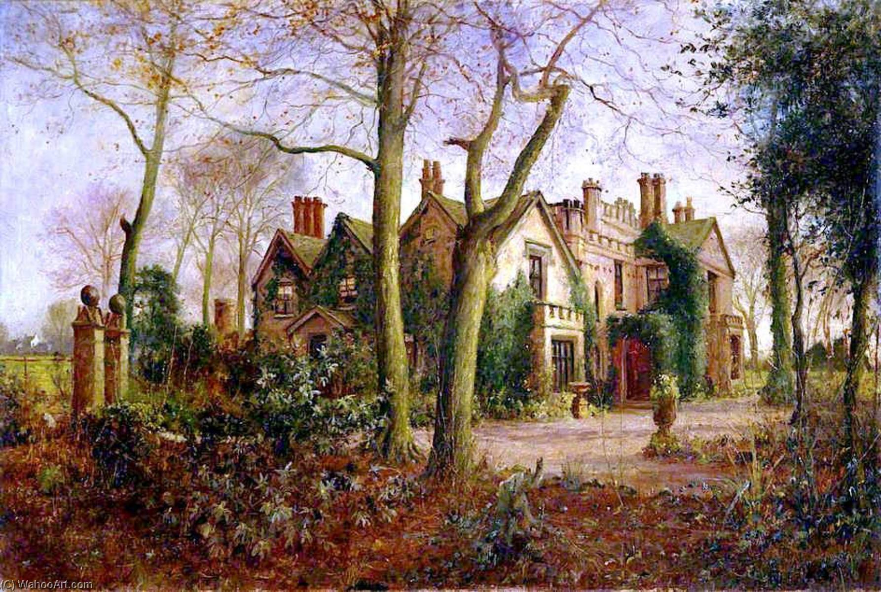 Late Autumn Irlam Hall, near Manchester, 1909 by James Hey Davies (1844-1926) | Reproductions James Hey Davies | WahooArt.com