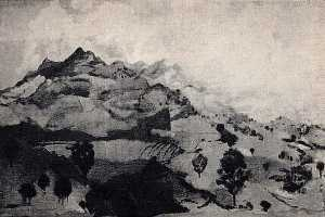 Arthur Bowen Davies - The Umbrian Mountains, (painting)