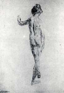 Arthur Bowen Davies - Standing Nude, Back View, (painting)