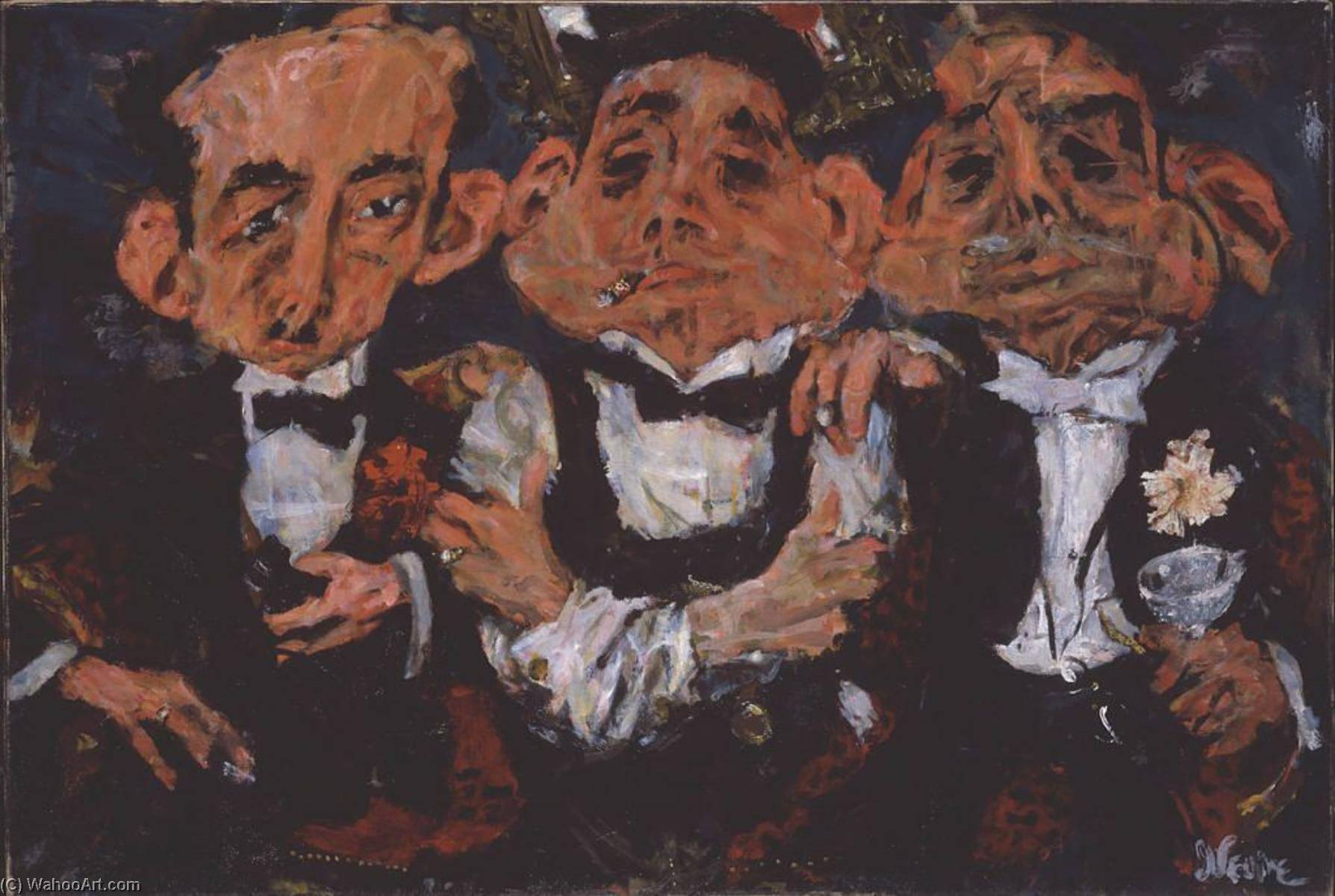 The Syndicate, Oil On Canvas by Jack Levine (1915-2010)