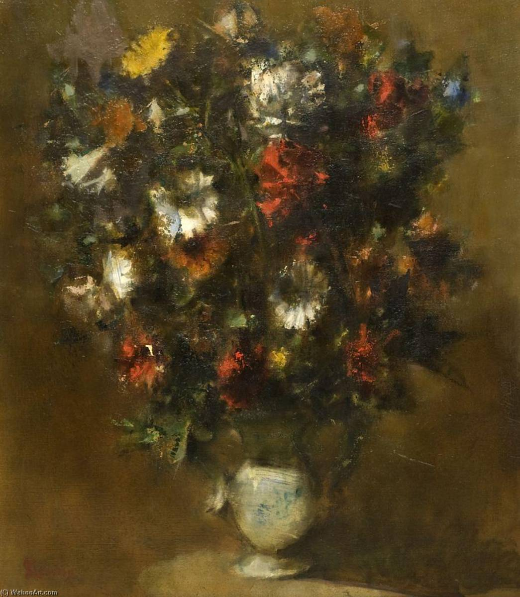 Flowers, Oil On Canvas by Jack Levine (1915-2010)
