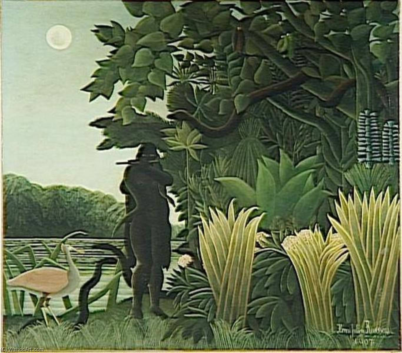 LA CHARMEUSE DE SERPENTS, Oil by Henri Julien Félix Rousseau (Le Douanier)