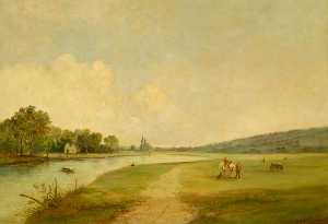 Frank Huddlestone Potter - Egham from Long Mede, Runnymede
