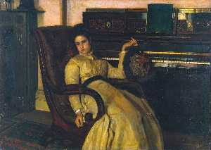 Frank Huddlestone Potter - Girl Resting at a Piano