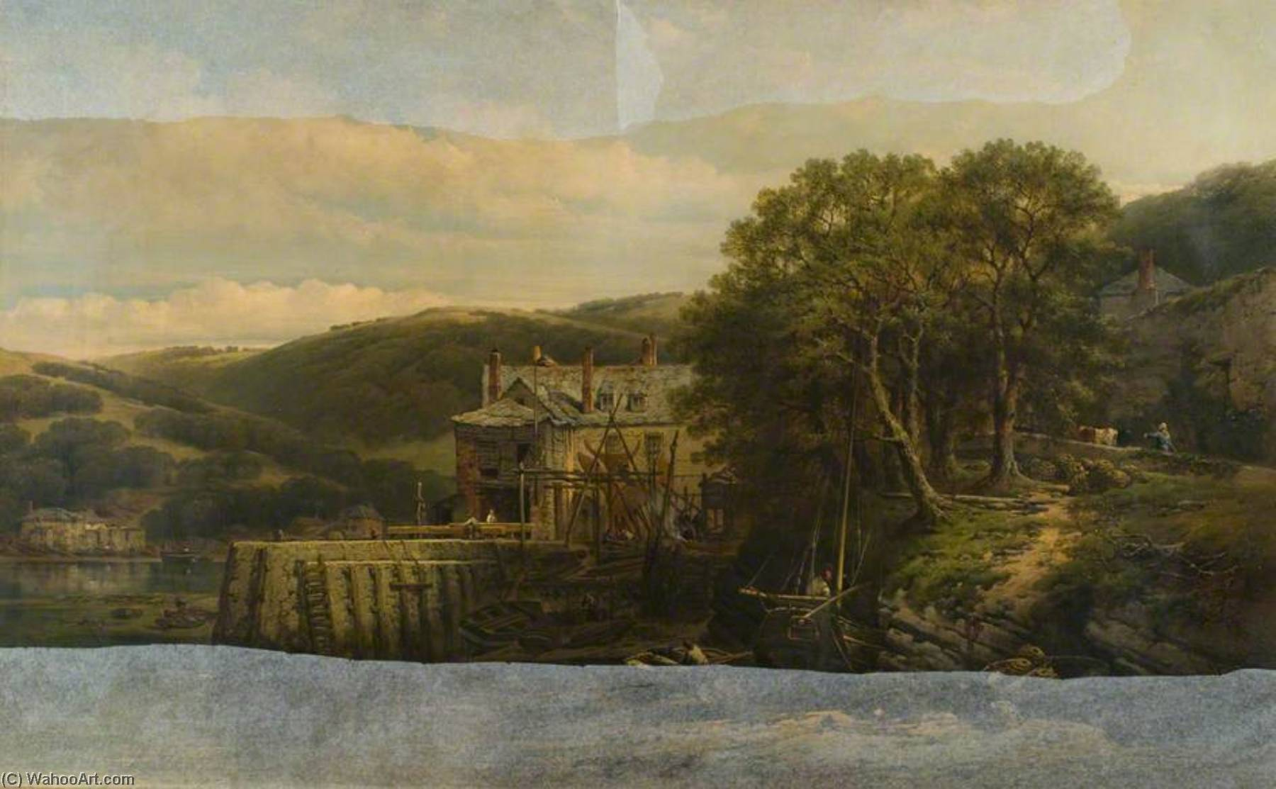Kingsweir on the Dart, Devon, 1864 by William Pitt | Art Reproduction | WahooArt.com