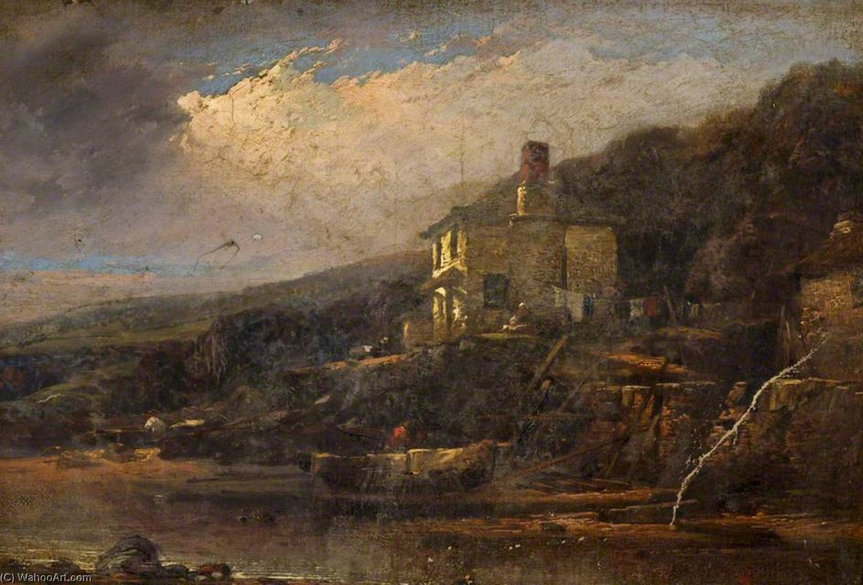 Fishing Cottage, Allsands, South Devon, 1856 by William Pitt | Oil Painting | WahooArt.com