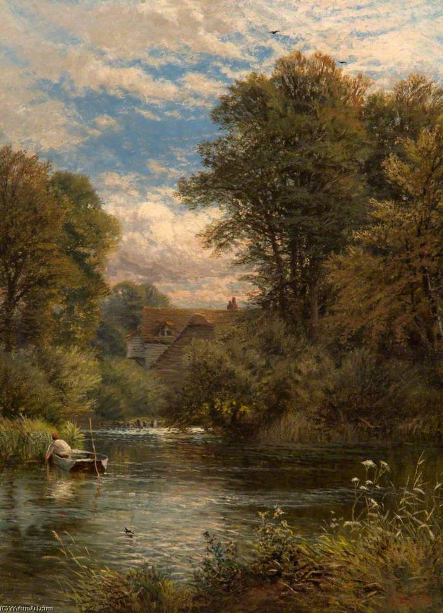 On the Thames, 1875 by Alfred Augustus Glendening | Oil Painting | WahooArt.com