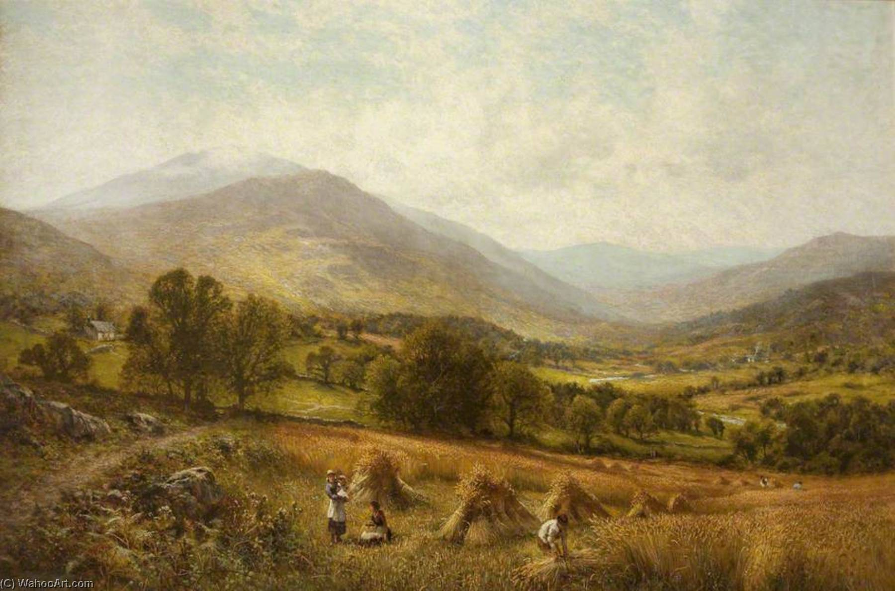 Order Reproductions | Harvesting Scene, 1892 by Alfred Augustus Glendening | WahooArt.com