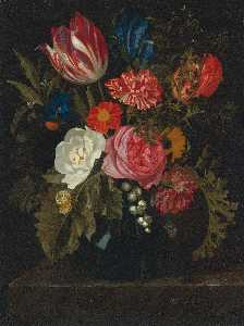 Maria Van Oosterwijk - Still Life of Roses, Carnations, a Tulip and Other Flowers in a Glass Vase