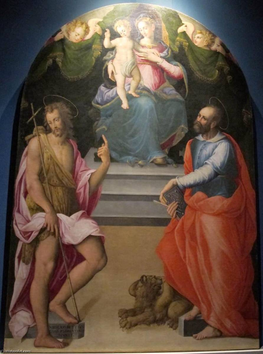 Virgin and Child with Sts John the Baptist and Mark, Oil On Panel by Niccolò Betti