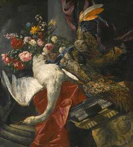 Boel Pieter (Boule) - Still life of peonies, roses and other flowers in a terracotta vase, together with a swan, peacock and boar's head, resting on a red drape and an antique architectural fragment