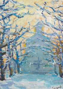 Order Paintings Reproductions | Winter by Nikolai Petrovich Glushchenko | WahooArt.com