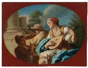 Pietro Bardellino - A Young Lady Playing a Tambourine with Two Girls Playing the Castanets A Young Man Playing the Lute with Others Playing a Violin and a Rommelpot