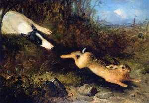 Thomas Woodward - A Greyhound in Pursuit of a Hare