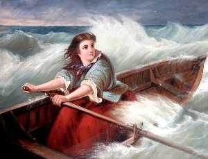 Grace Darling, Oil On Canvas by Thomas Brooks (order Fine Art hand made painting Thomas Brooks)