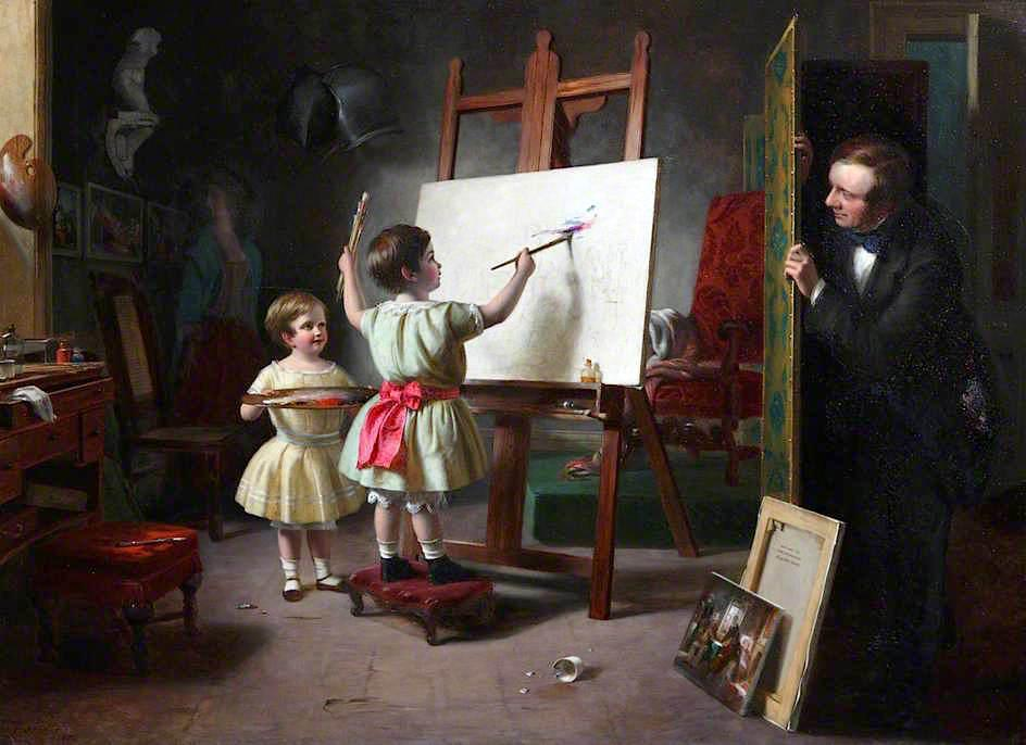 Mischief The Artist's Studio, Oil On Canvas by Thomas Brooks