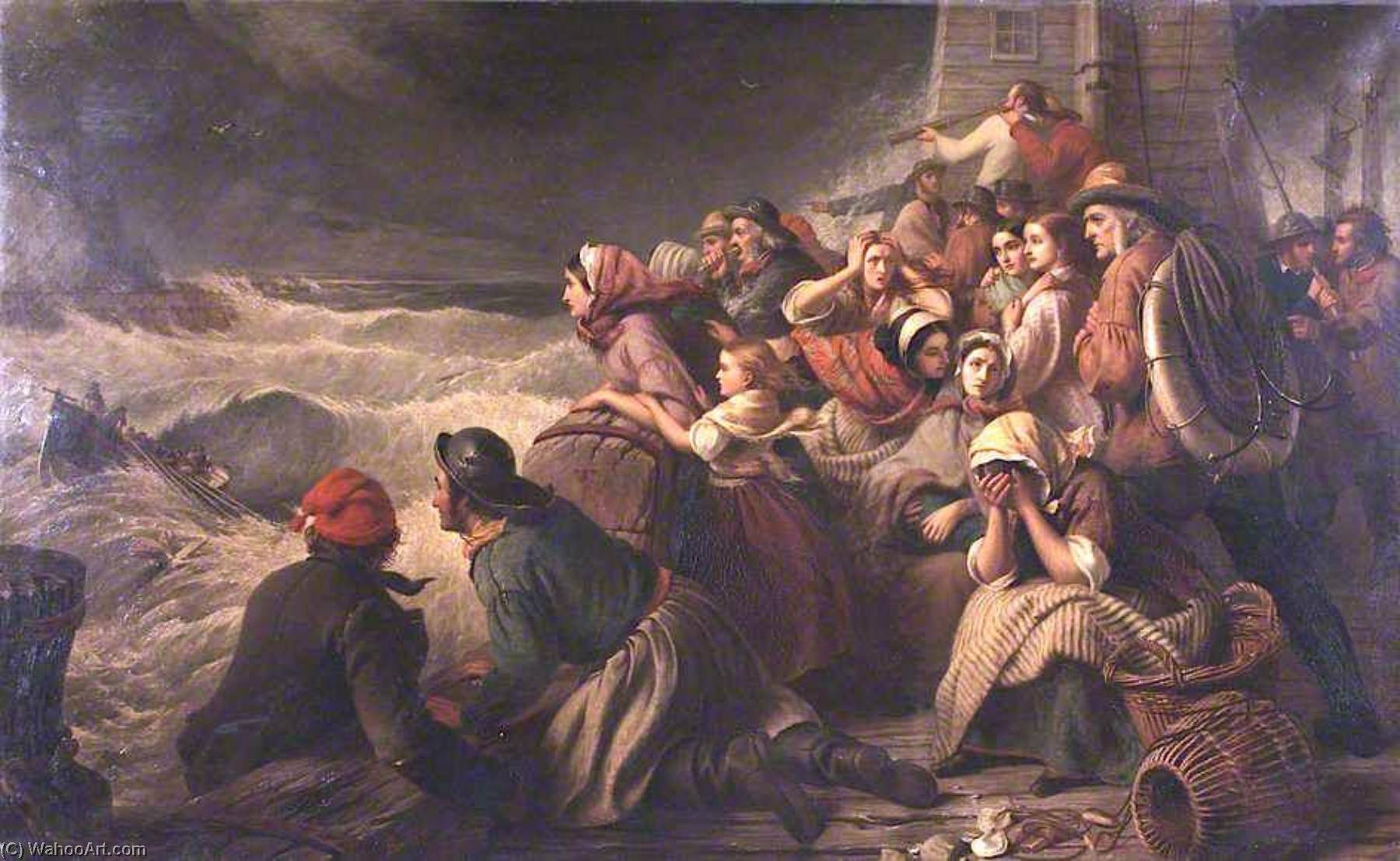 The Lifeboat Going to the Rescue, 1861 by Thomas Brooks | Famous Paintings Reproductions | WahooArt.com