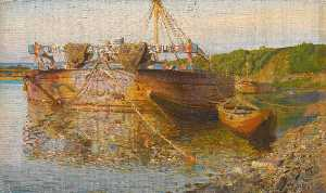 Vasily Dmitrievich Polenov - Barge on the river Oka