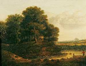 William Henry Crome - A Grove of Trees near a Stream with a Man Fishing from a Boat