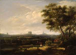 William Henry Crome - Landscape with Norwich Castle and Cathedral in the Distance