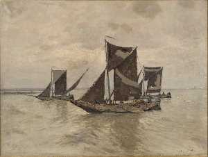 Wilhelm Hambüchen - Fishing Boats on the Rhine