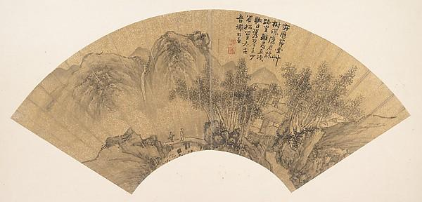 Order Museum Quality Copies | 明 謝時臣 隱居圖 扇面 Landscape with Figure by Xie Shichen | WahooArt.com