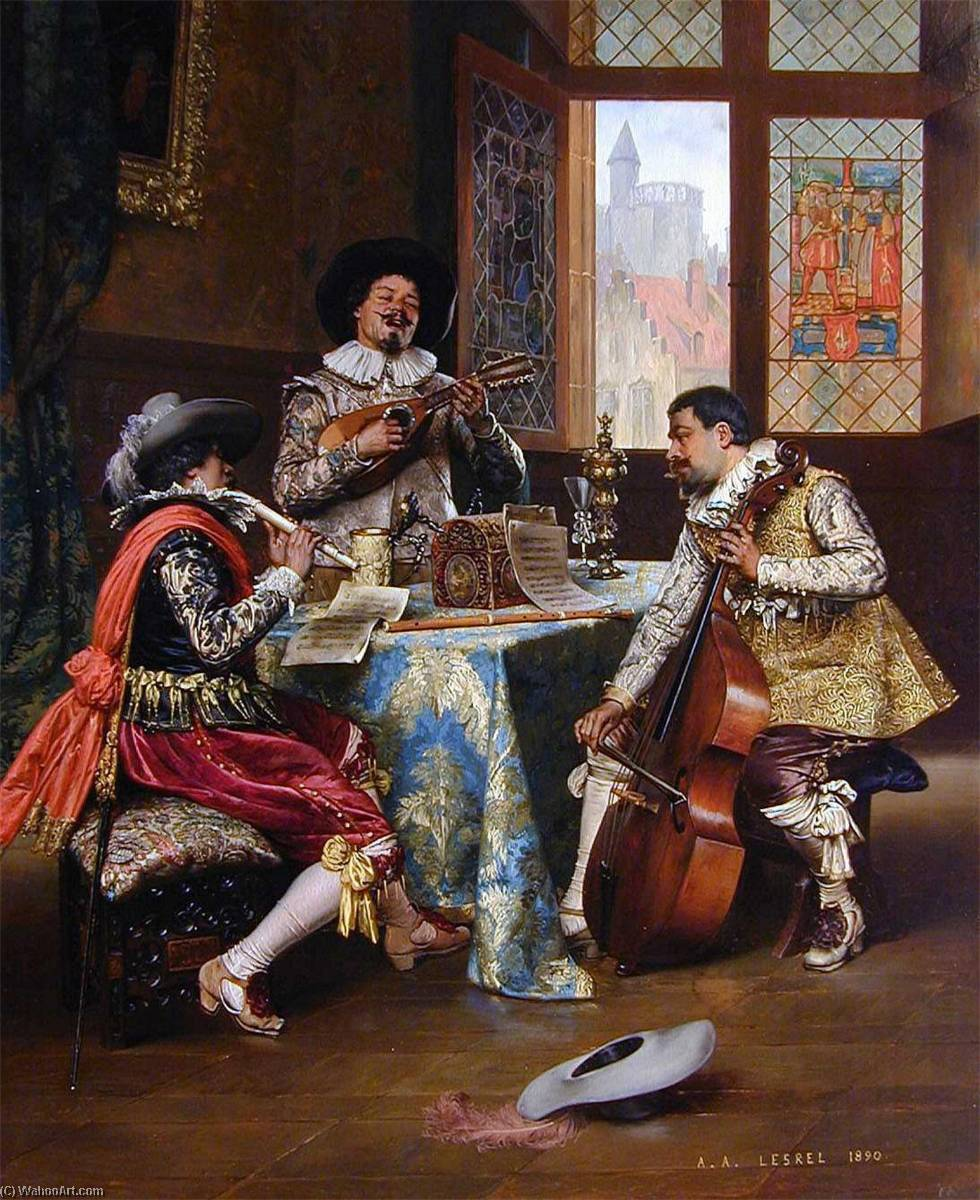 Order Reproductions | The Musical Trio by Adolphe Alexandre Lesrel (1839-1929, France) | WahooArt.com