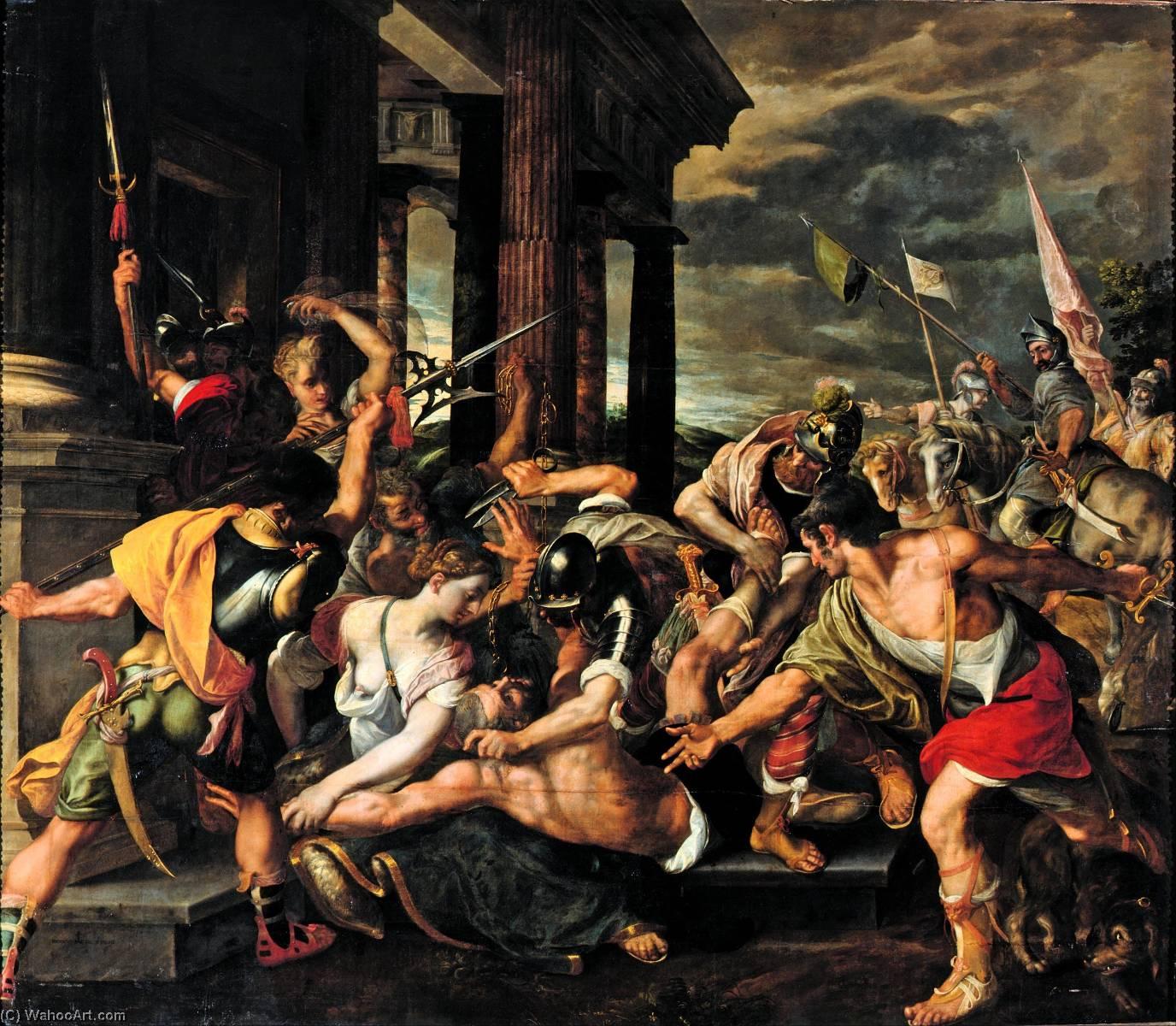 Delilah's Betrayal and Samson's Imprisonment by the Philistines, 1580 by Joos Van Winghe | Oil Painting | WahooArt.com