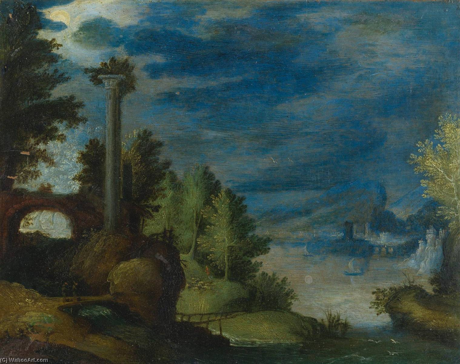 Order Museum Quality Reproductions : A Coastal Landscape by Anton Mirou (1578-1621) | WahooArt.com