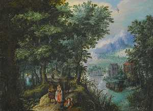 Anton Mirou - A river landscape with elegant figures on a path, a village on the far bank