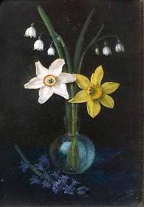Alfred Balding - Four Natives of Ancient Britain, Daffodils, Narcissi, Lily of the Valley and Bluebells