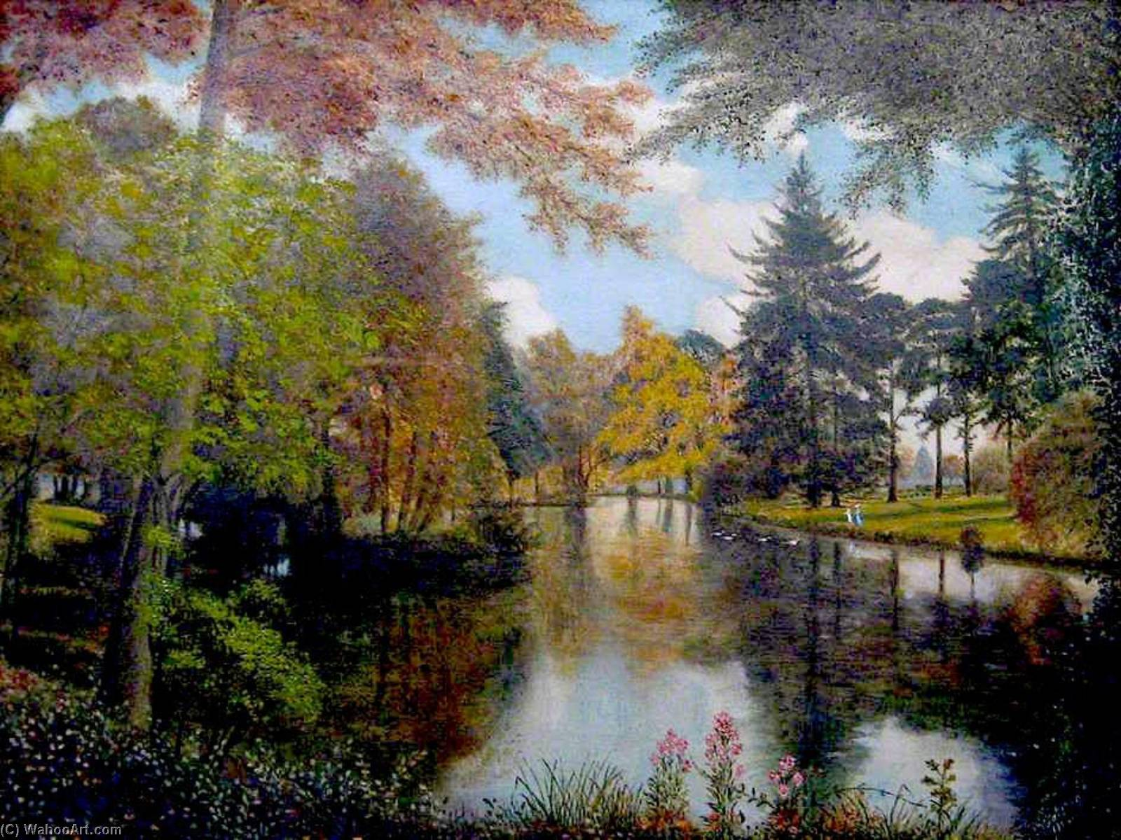 The Lower Lake, Dynes Hall, Essex, 1913 by Alfred Balding | Museum Art Reproductions Alfred Balding | WahooArt.com