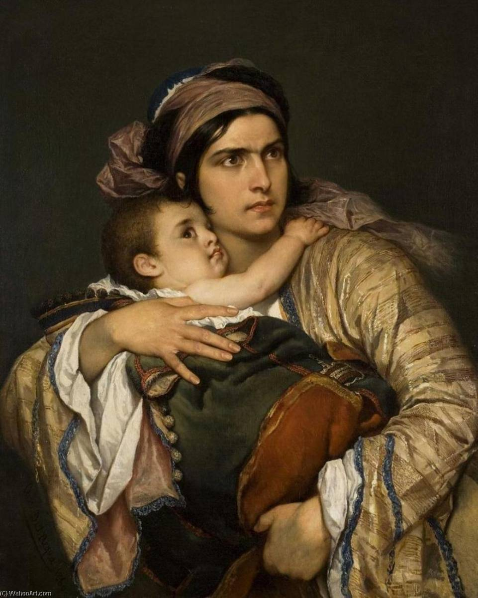 Greek Mother, 1860 by Cesare Dell'acqua | Reproductions Cesare Dell'acqua | WahooArt.com