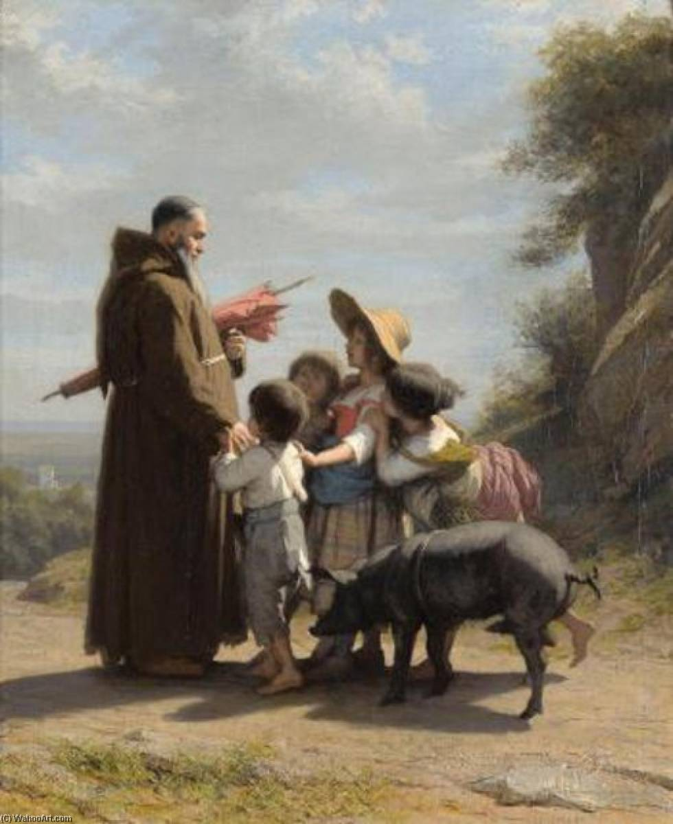 A Franciscan Monk With Children, 1868 by Alfred Jacques Van Muyden | Museum Quality Copies Alfred Jacques Van Muyden | WahooArt.com