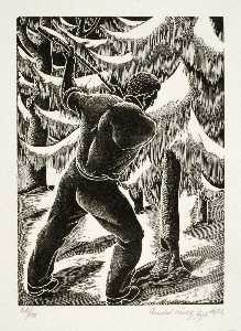 Order Oil Painting : Untitled (man cutting down tree), 1936 by Arnold Wiltz | WahooArt.com