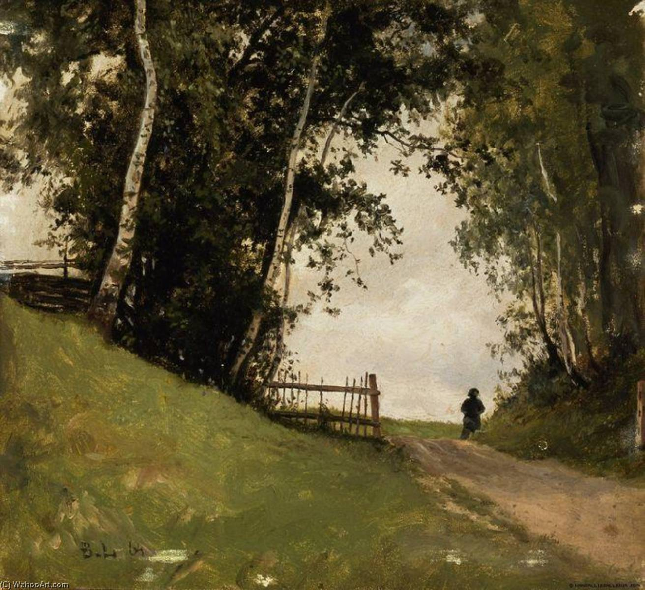 Landscape with Birch Trees, 1864 by Berndt Lindholm | Museum Quality Reproductions | WahooArt.com