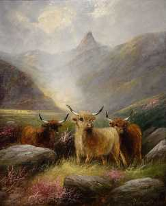 Edward Armfield - Highland Cattle in a Glen