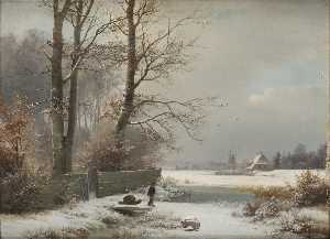 Anders Andersen Lundby - Man with Sledge in a Winter Landscape