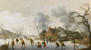 Anthonie Verstraelen - Winter scene with skaters and kolfers on the ice