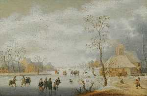 Anthonie Verstraelen - a winter landscape with figures skating on a frozen river beside a village
