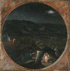 Gillis Coignet The Elder - The Assyrian camp at night, with Judith beheading Holofernes in his tent