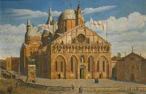 Antoine Marie Perrot - Padua, a view of the Basilica of Saint Antony, seen from the west
