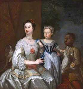 John Giles Eccardt - Lady Grace Carteret, Countess of Dysart with a Child, and a Black Servant, Cockatoo and Spaniel