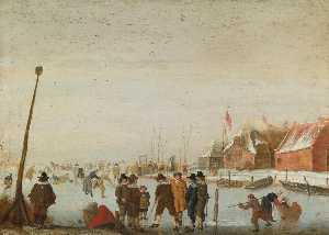 Barend Avercamp (Barend Petersz) - Winter landscape with skaters and colfers on a frozen inlet