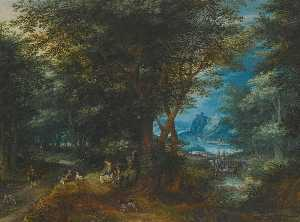 Denis Van Alsloot - Summer landscape with a lady and gentleman seated and sportsmen returning with game