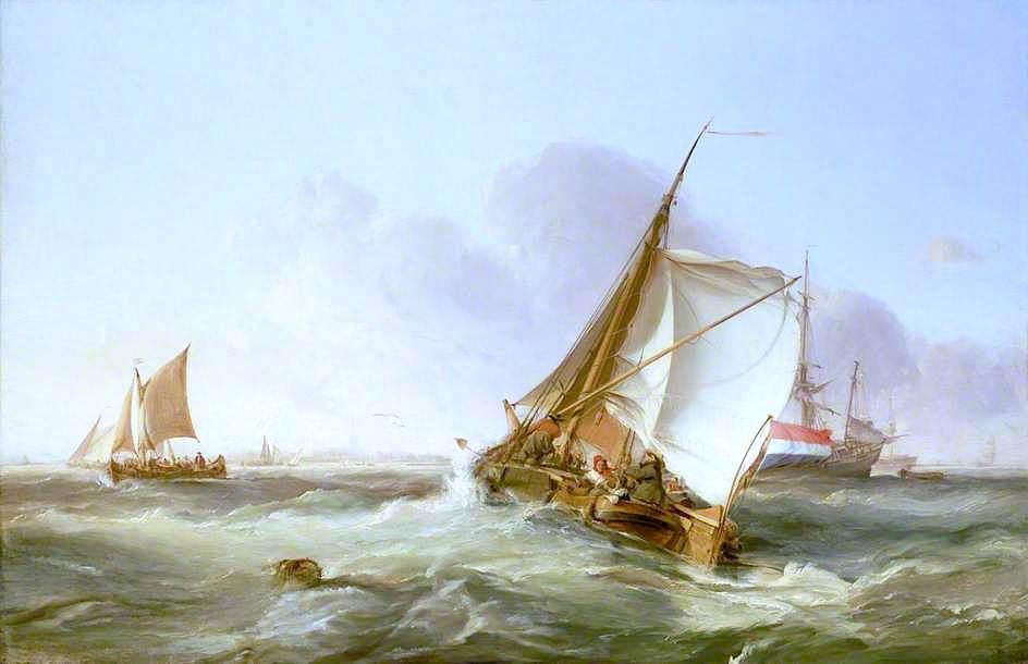 A Dutch Boeier in a Fresh Breeze, 1831 by George Paul Chambers | Oil Painting | WahooArt.com