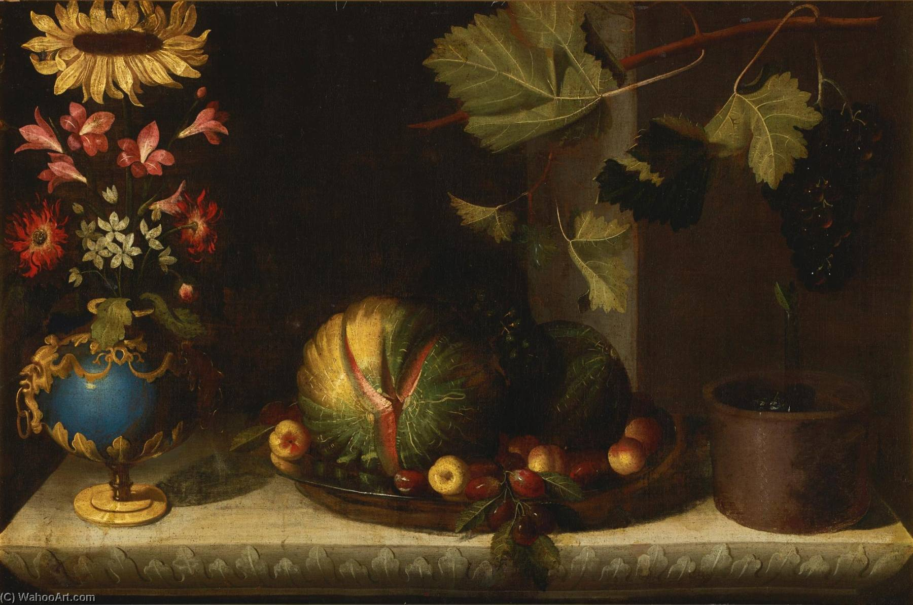 Still life of a sunflower and other blooms in a gilt mounted bluestone vase, together with melons, apricots, grapes and plums in a pewter dish alongside a planter with grapes on a vine branch, all on a carved marble ledge, Oil On Canvas by Bernardo Polo