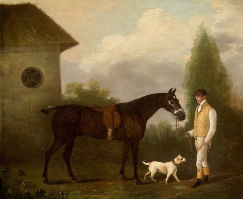Groom Holding a Bay Horse, 1800 by Clifton Tomson | Oil Painting | WahooArt.com