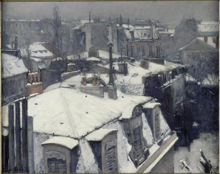TOITS SOUS LA NEIGE, Oil by Gustave Caillebotte (1848-1894, France)