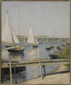 VOILIERS A ARGENTEUIL, Oil by Gustave Caillebotte  (order Fine Art Framed Giclee Gustave Caillebotte)